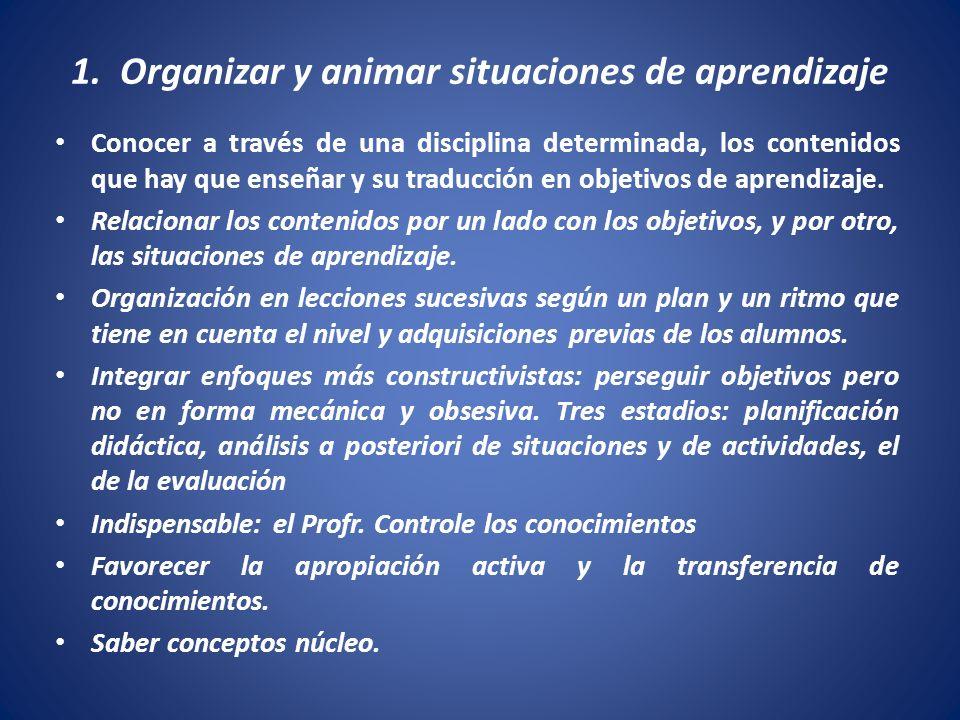 1. Organizar y animar situaciones de aprendizaje Conocer a través de una disciplina determinada, los contenidos que hay que enseñar y su traducción en