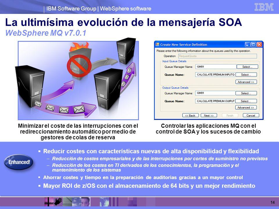 IBM Software Group | WebSphere software 14 La ultimísima evolución de la mensajería SOA WebSphere MQ v7.0.1 Reducir costes con características nuevas