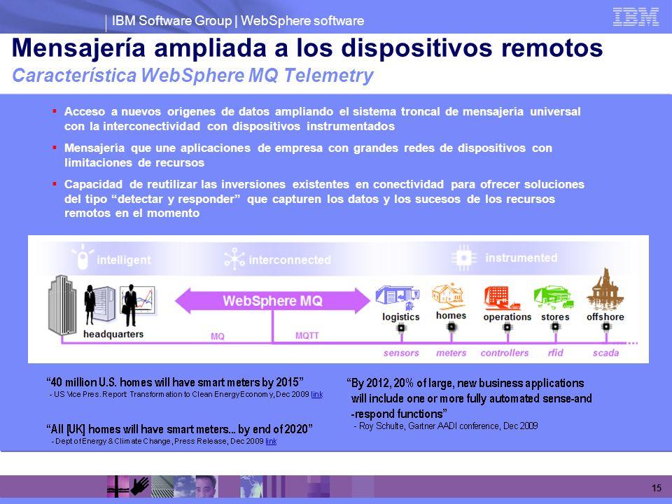IBM Software Group | WebSphere software 15 Mensajería ampliada a los dispositivos remotos Característica WebSphere MQ Telemetry Acceso a nuevos orígen