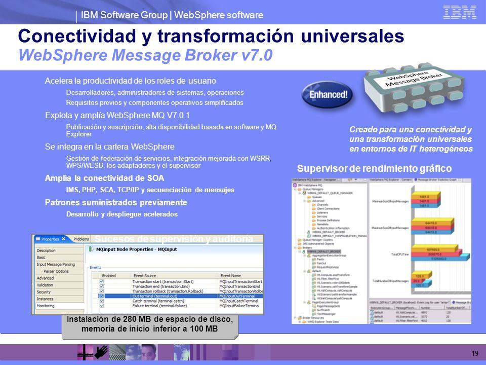 IBM Software Group | WebSphere software 19 Conectividad y transformación universales WebSphere Message Broker v7.0 Acelera la productividad de los rol