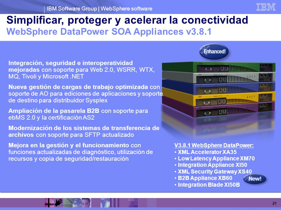 IBM Software Group | WebSphere software 21 Simplificar, proteger y acelerar la conectividad WebSphere DataPower SOA Appliances v3.8.1 V3.8.1 WebSphere