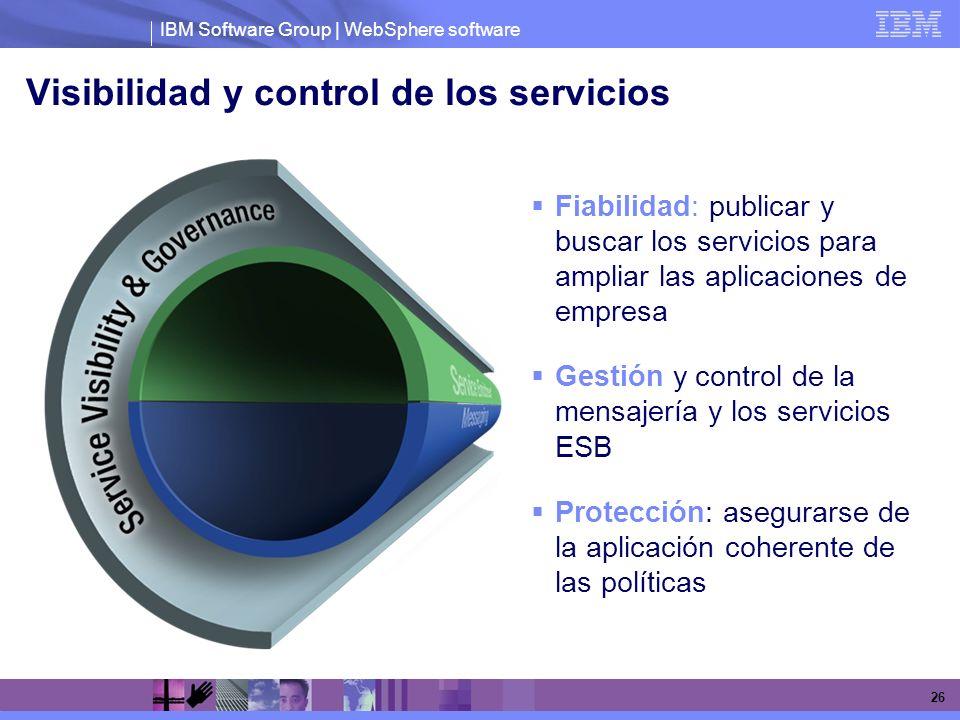 IBM Software Group | WebSphere software 26 Visibilidad y control de los servicios Fiabilidad: publicar y buscar los servicios para ampliar las aplicac