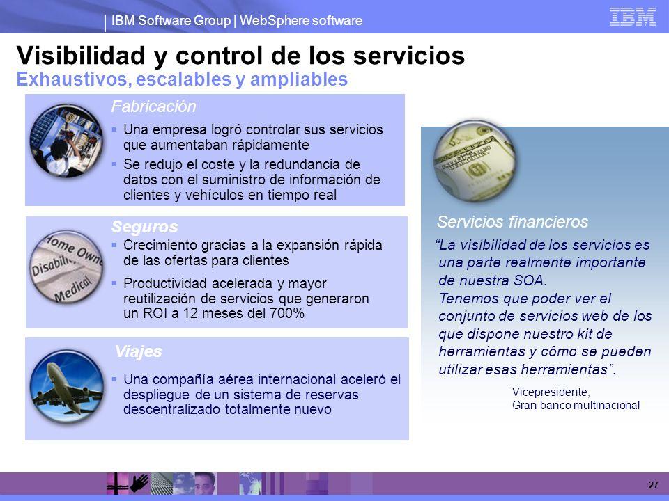 IBM Software Group | WebSphere software 27 Visibilidad y control de los servicios Exhaustivos, escalables y ampliables Una empresa logró controlar sus