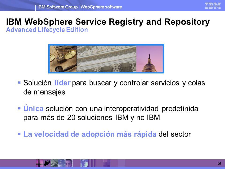 IBM Software Group | WebSphere software 28 IBM WebSphere Service Registry and Repository Advanced Lifecycle Edition Solución líder para buscar y contr