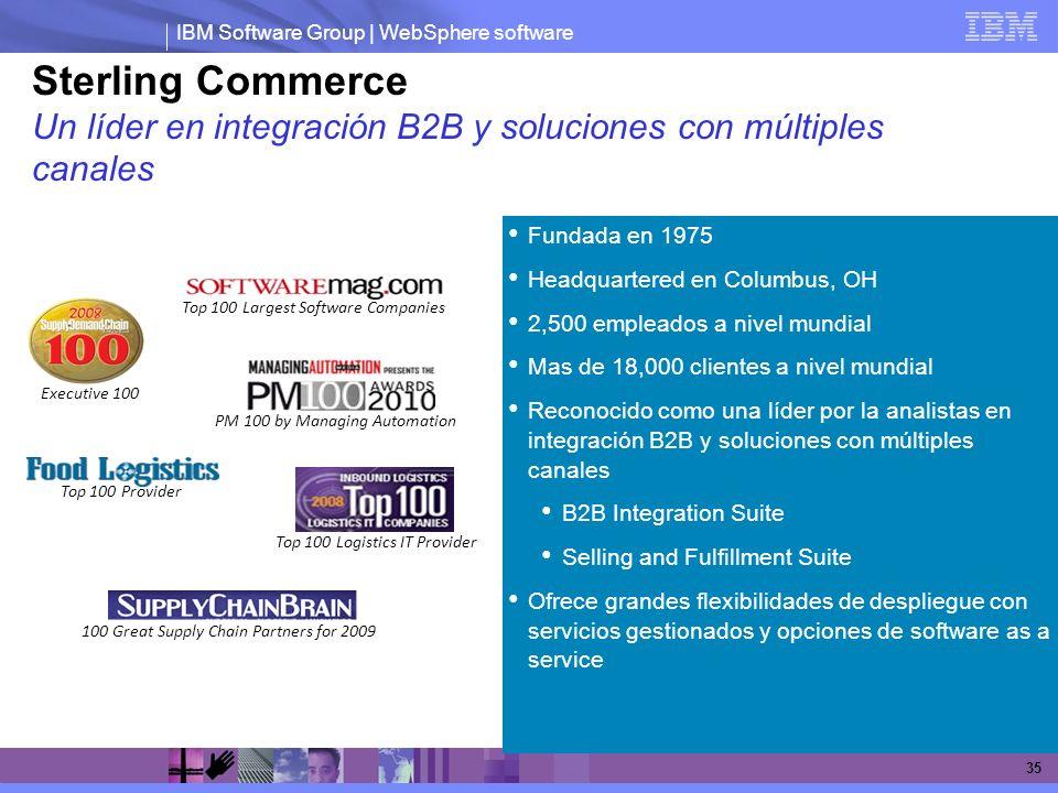 IBM Software Group | WebSphere software 35 Sterling Commerce Un líder en integración B2B y soluciones con múltiples canales Fundada en 1975 Headquarte