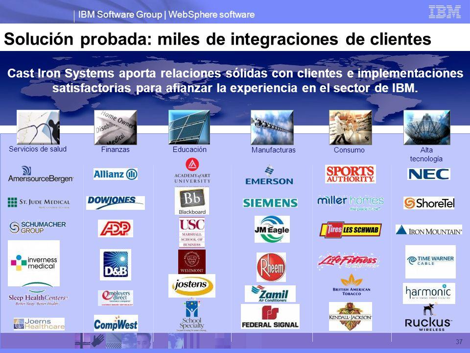 IBM Software Group | WebSphere software 37 Solución probada: miles de integraciones de clientes Cast Iron Systems aporta relaciones sólidas con client
