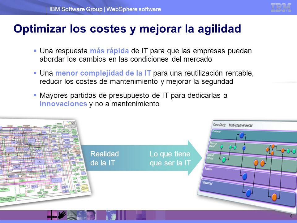 IBM Software Group | WebSphere software 6 Optimizar los costes y mejorar la agilidad Realidad de la IT Lo que tiene que ser la IT Una respuesta más rá