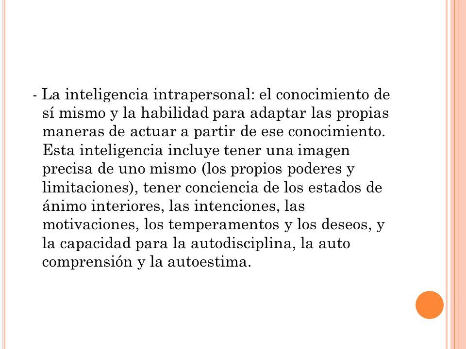 - La inteligencia intrapersonal: el conocimiento de sí mismo y la habilidad para adaptar las propias maneras de actuar a partir de ese conocimiento. E