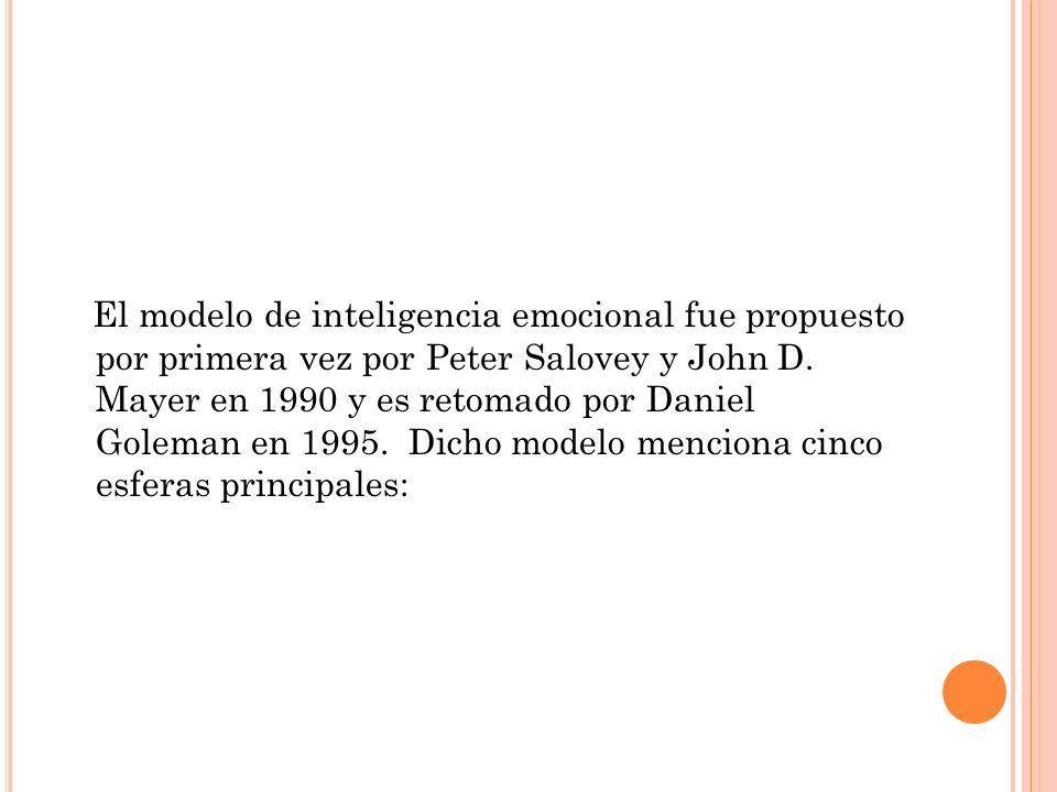 El modelo de inteligencia emocional fue propuesto por primera vez por Peter Salovey y John D. Mayer en 1990 y es retomado por Daniel Goleman en 1995.