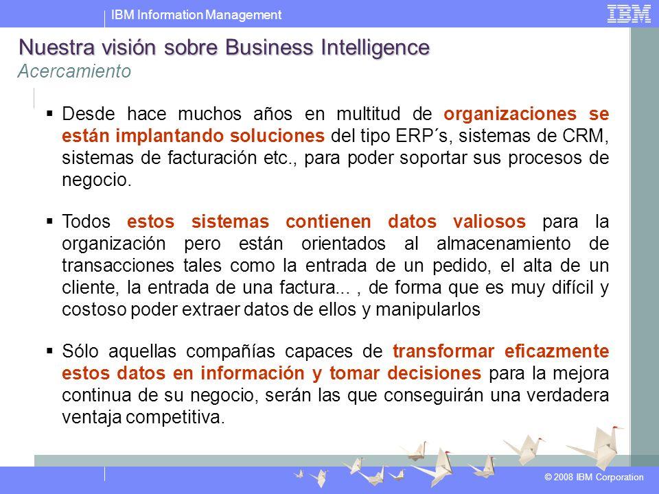 IBM Information Management © 2008 IBM Corporation Desde hace muchos años en multitud de organizaciones se están implantando soluciones del tipo ERP´s, sistemas de CRM, sistemas de facturación etc., para poder soportar sus procesos de negocio.