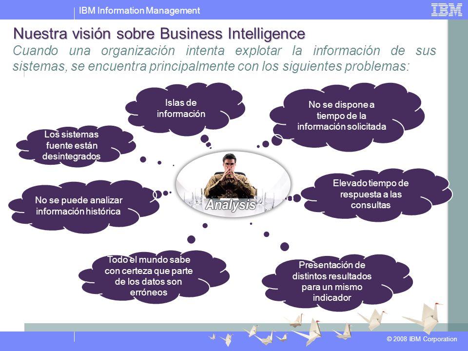 IBM Information Management © 2008 IBM Corporation Cuando una organización intenta explotar la información de sus sistemas, se encuentra principalmente