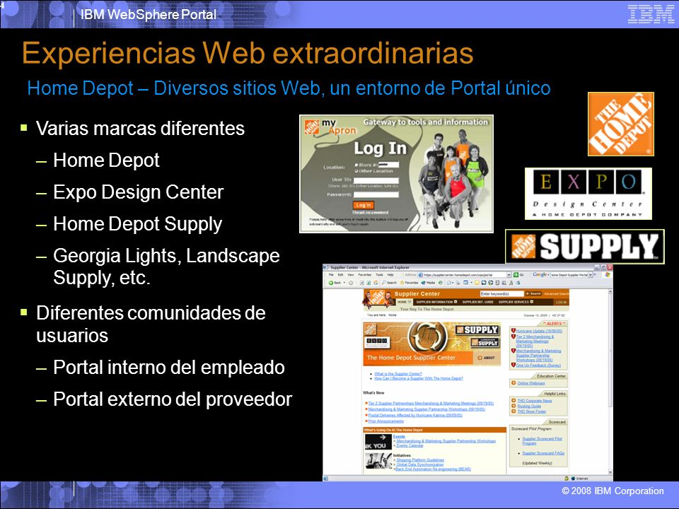 IBM WebSphere Portal © 2008 IBM Corporation 5 Permite ofrecer multiples experiencias de usuario a clientes, colaboradores y empleados o ciudadanos, con flexibilidad para adapatarse a las necesidades y basadas en estándares abiertos.