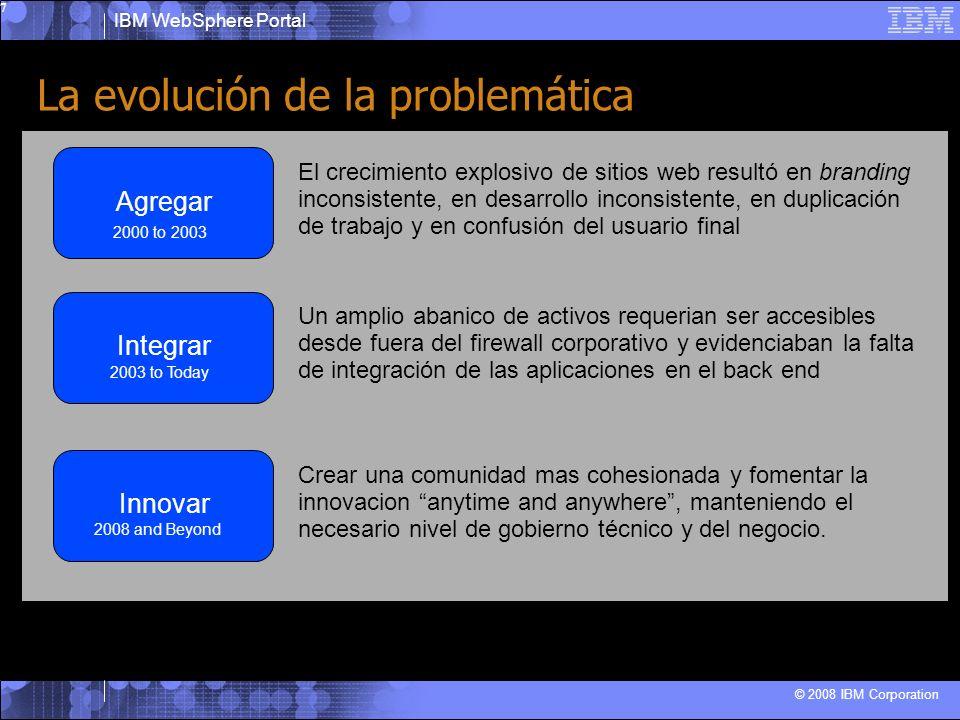 IBM WebSphere Portal © 2008 IBM Corporation 8 Resolviendo los retos con Websphere Portal