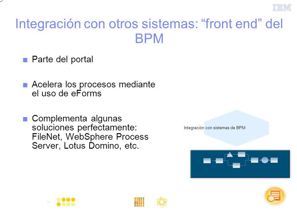 5 Integración con otros sistemas: front end del BPM Parte del portal Acelera los procesos mediante el uso de eForms Complementa algunas soluciones perfectamente: FileNet, WebSphere Process Server, Lotus Domino, etc.