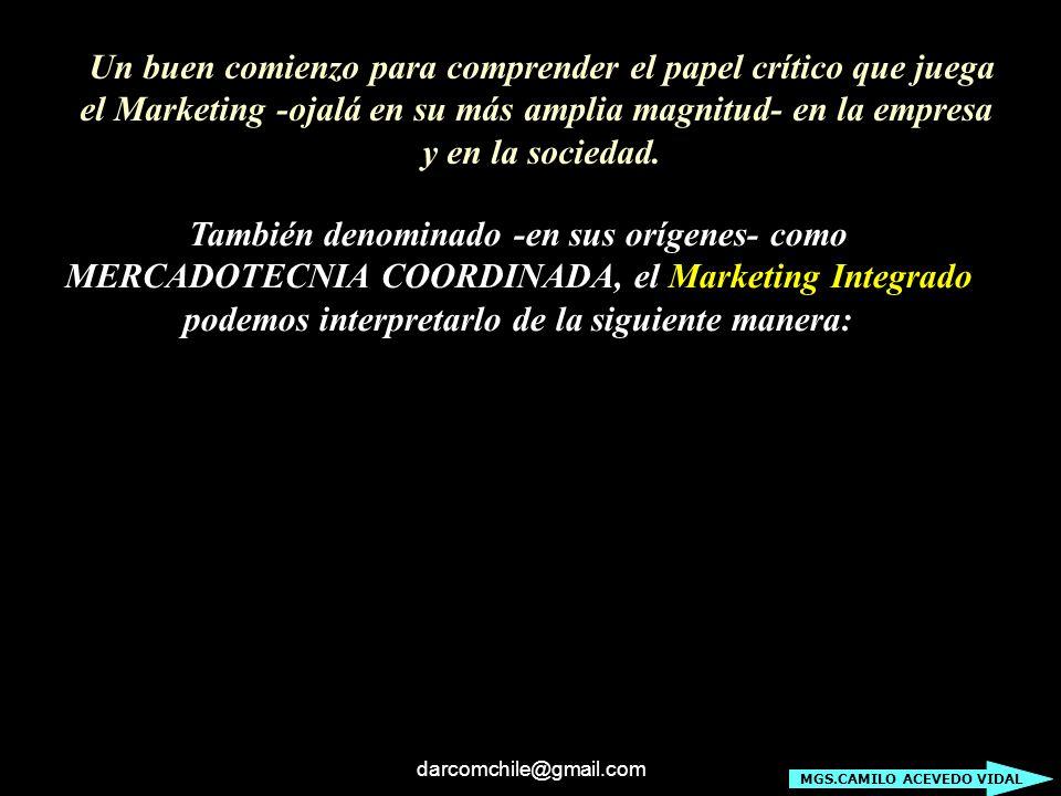 darcomchile@gmail.com Un buen comienzo para comprender el papel crítico que juega el Marketing -ojalá en su más amplia magnitud- en la empresa y en la