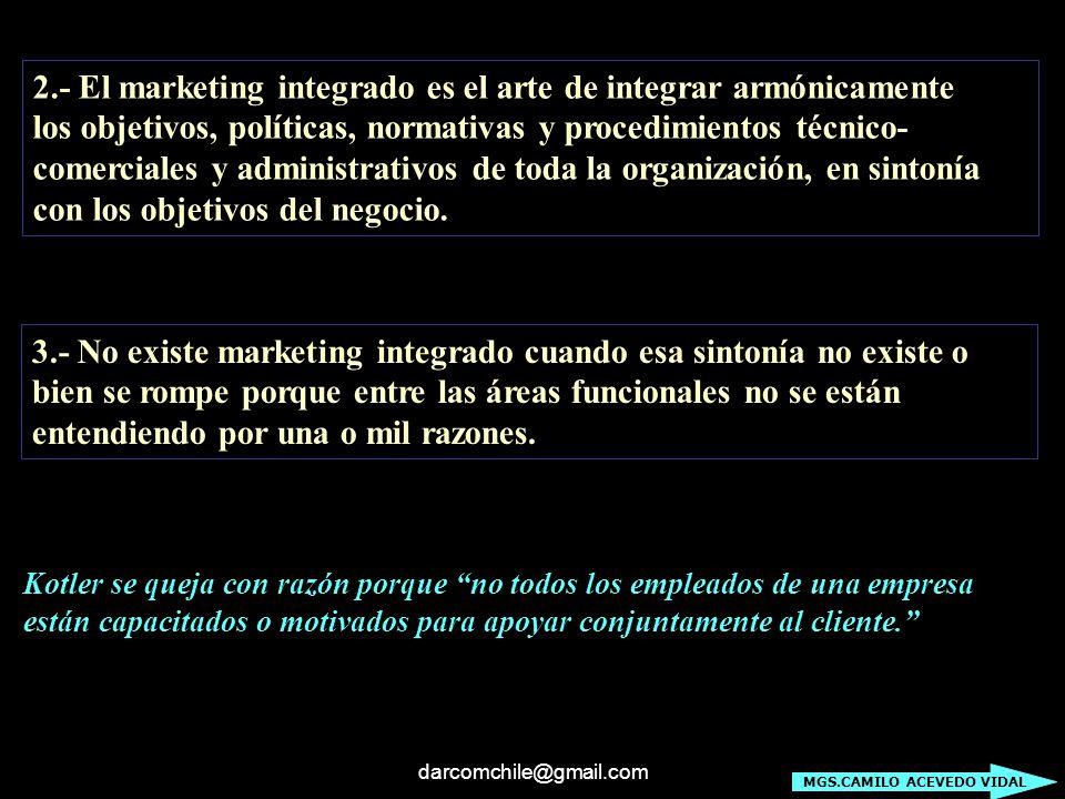darcomchile@gmail.com 2.- El marketing integrado es el arte de integrar armónicamente los objetivos, políticas, normativas y procedimientos técnico- c