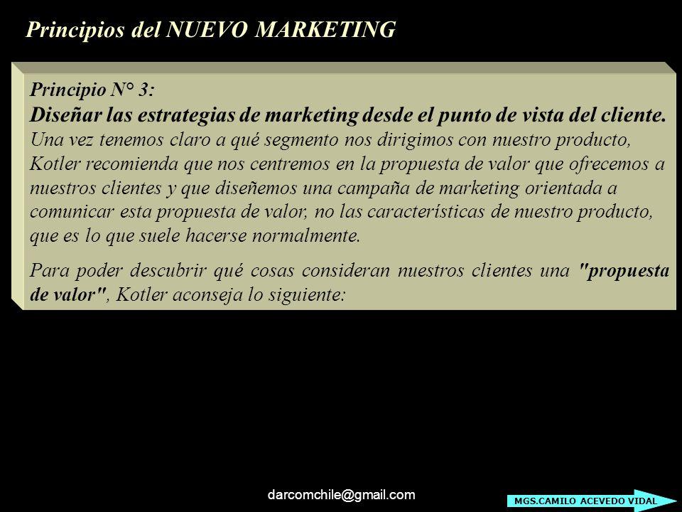 darcomchile@gmail.com Principio N° 3: Diseñar las estrategias de marketing desde el punto de vista del cliente. Una vez tenemos claro a qué segmento n