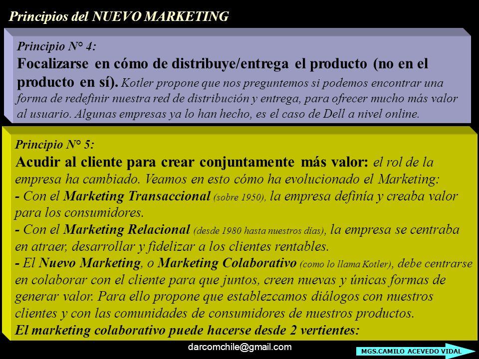 darcomchile@gmail.com Principio N° 4: Focalizarse en cómo de distribuye/entrega el producto (no en el producto en sí). Kotler propone que nos pregunte