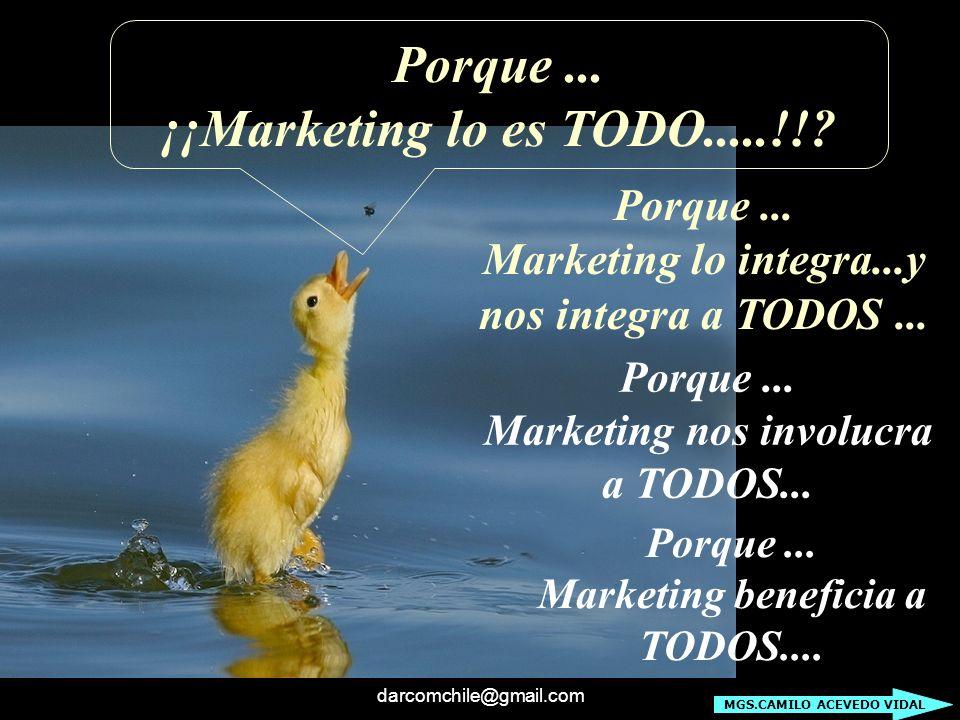 darcomchile@gmail.com Porque... ¡¡Marketing lo es TODO.....!!? Porque... Marketing lo integra...y nos integra a TODOS... Porque... Marketing nos invol