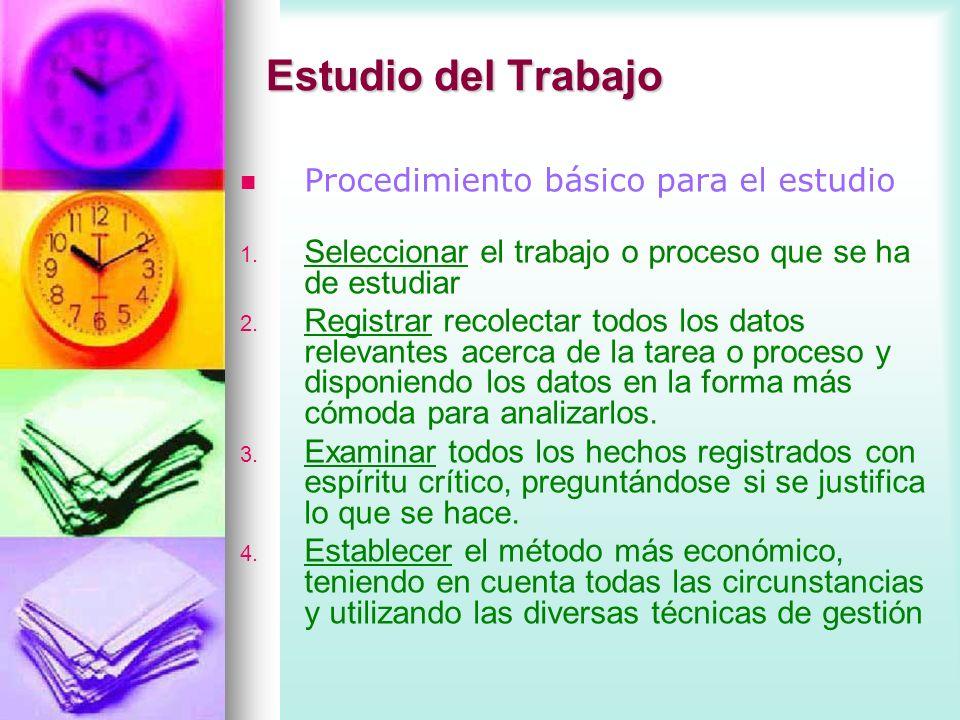 Estudio del Trabajo Procedimiento básico para el estudio 1. 1. Seleccionar el trabajo o proceso que se ha de estudiar 2. 2. Registrar recolectar todos