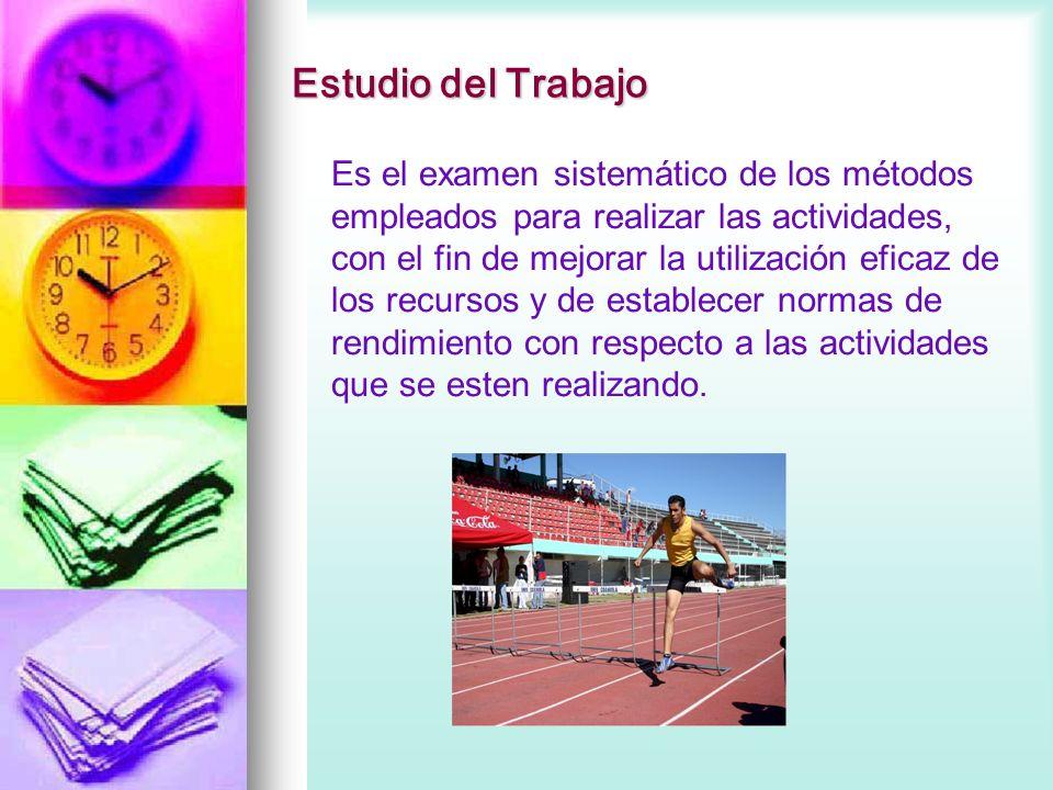 Estudio del Trabajo Es el examen sistemático de los métodos empleados para realizar las actividades, con el fin de mejorar la utilización eficaz de lo