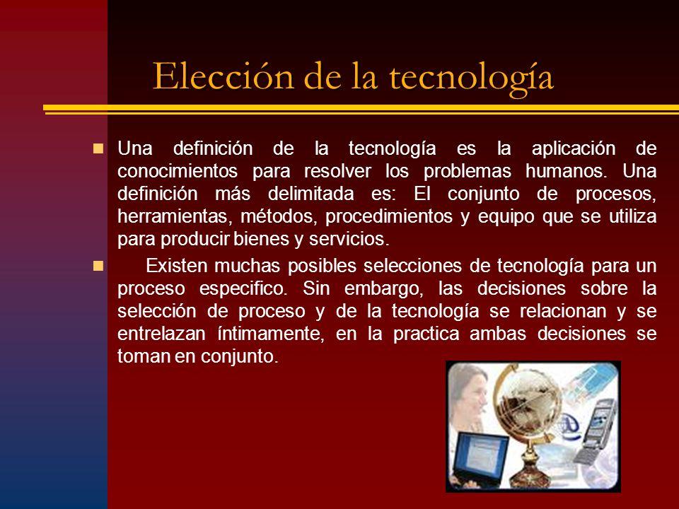 Elección de la tecnología Una definición de la tecnología es la aplicación de conocimientos para resolver los problemas humanos. Una definición más de