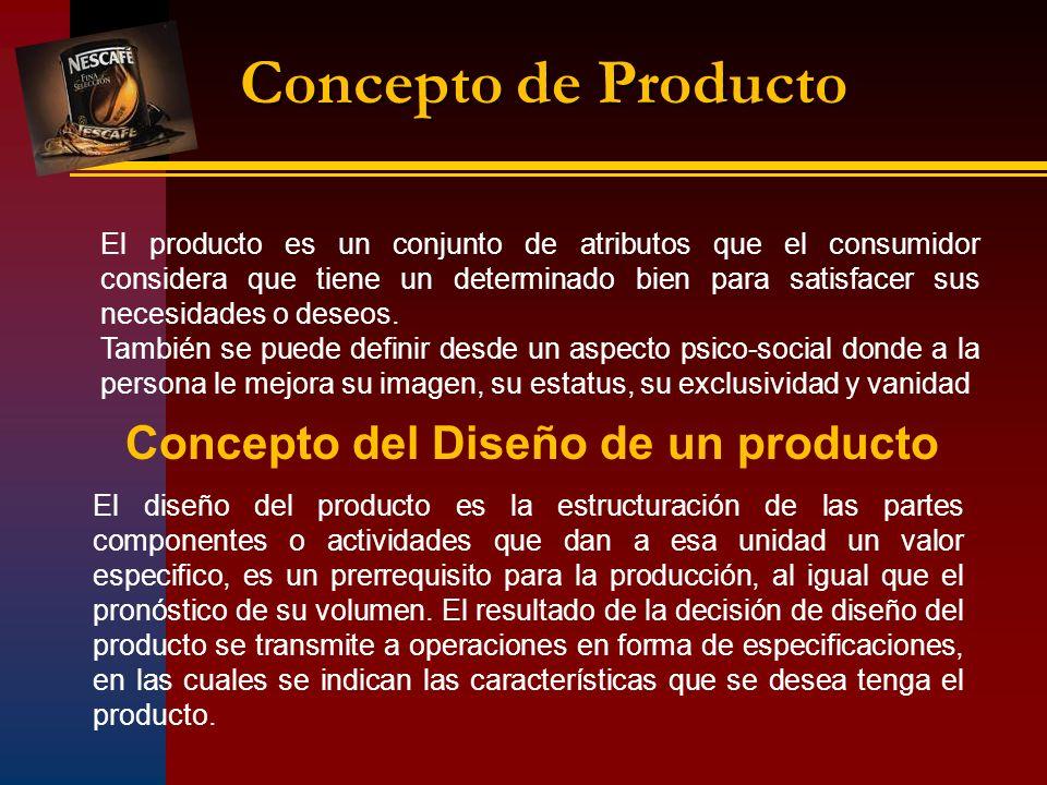 Concepto de Producto El producto es un conjunto de atributos que el consumidor considera que tiene un determinado bien para satisfacer sus necesidades