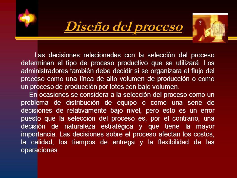 Diseño del proceso Las decisiones relacionadas con la selección del proceso determinan el tipo de proceso productivo que se utilizará. Los administrad