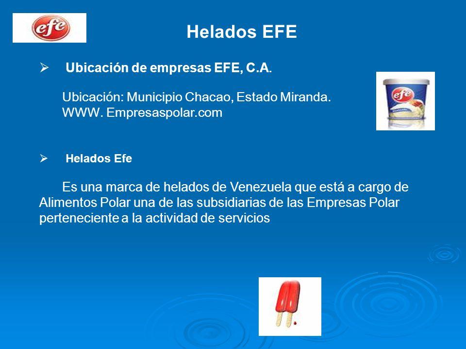 Helados EFE Ubicación de empresas EFE, C.A. Ubicación: Municipio Chacao, Estado Miranda. WWW. Empresaspolar.com Helados Efe Es una marca de helados de