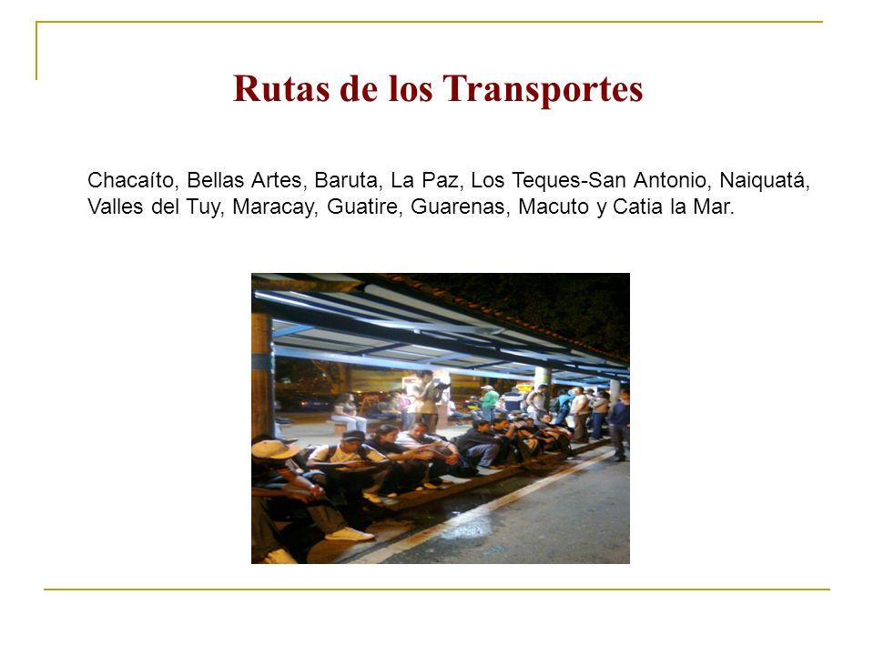 Chacaíto, Bellas Artes, Baruta, La Paz, Los Teques-San Antonio, Naiquatá, Valles del Tuy, Maracay, Guatire, Guarenas, Macuto y Catia la Mar. Rutas de