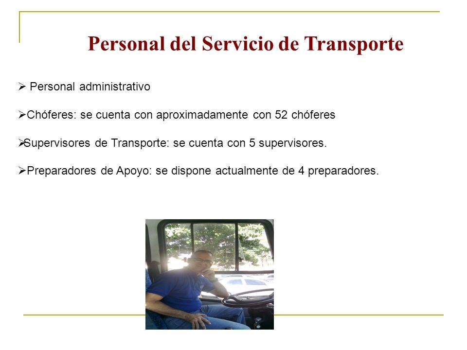 Personal del Servicio de Transporte Personal administrativo Chóferes: se cuenta con aproximadamente con 52 chóferes Supervisores de Transporte: se cue