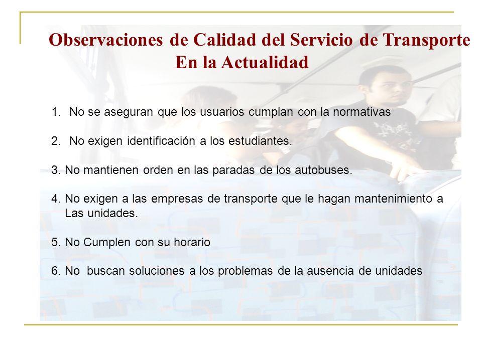 Observaciones de Calidad del Servicio de Transporte En la Actualidad 1.No se aseguran que los usuarios cumplan con la normativas 2.No exigen identific