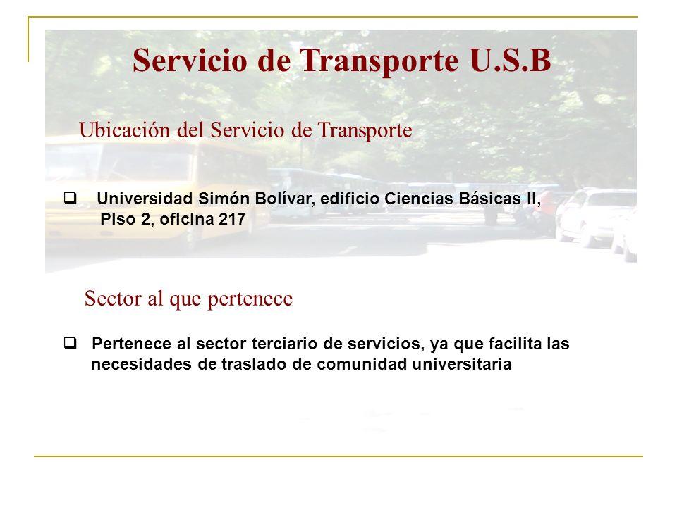 Servicio de Transporte U.S.B Ubicación del Servicio de Transporte Universidad Simón Bolívar, edificio Ciencias Básicas II, Piso 2, oficina 217 Sector