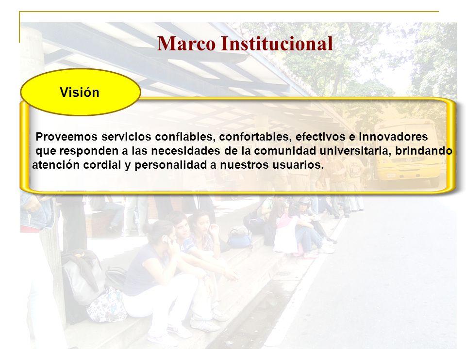 Marco Institucional Visión Proveemos servicios confiables, confortables, efectivos e innovadores que responden a las necesidades de la comunidad unive