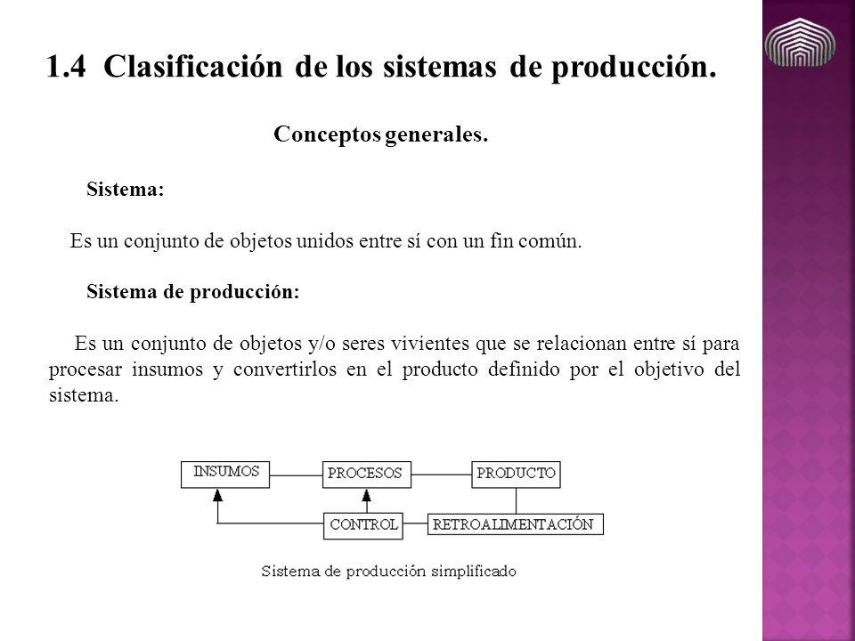 1.4 Clasificación de los sistemas de producción. Sistema: Es un conjunto de objetos unidos entre sí con un fin común. Sistema de producción: Es un con