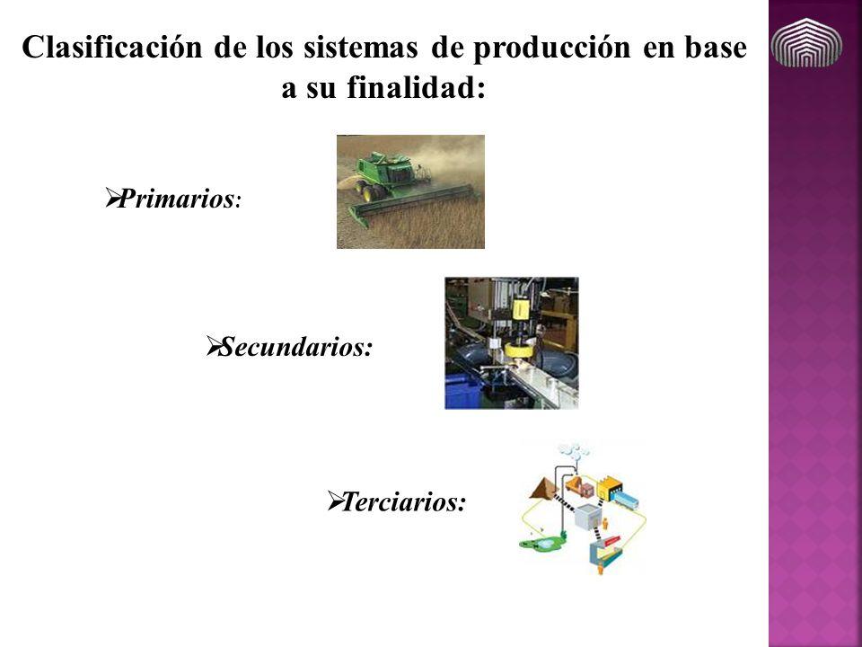 Clasificación de los sistemas de producción en base a su finalidad: Primarios : Secundarios: Terciarios:
