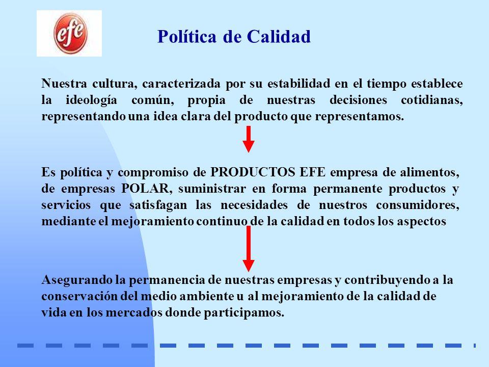 Política de Calidad Nuestra cultura, caracterizada por su estabilidad en el tiempo establece la ideología común, propia de nuestras decisiones cotidia