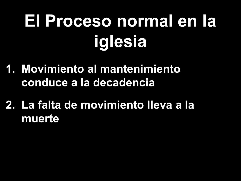 1. Movimiento al mantenimiento conduce a la decadencia 2. La falta de movimiento lleva a la muerte El Proceso normal en la iglesia