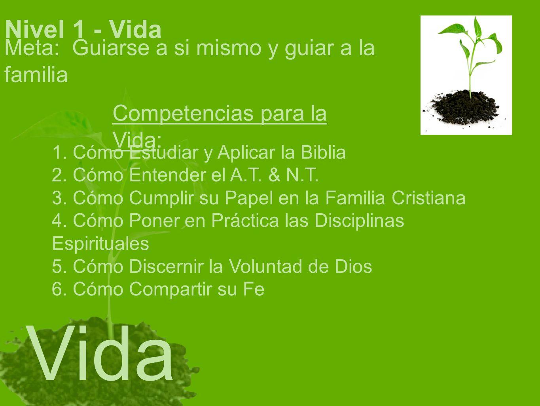 Nivel 1 - Vida Meta: Guiarse a si mismo y guiar a la familia Competencias para la Vida: 1. Cómo Estudiar y Aplicar la Biblia 2. Cómo Entender el A.T.