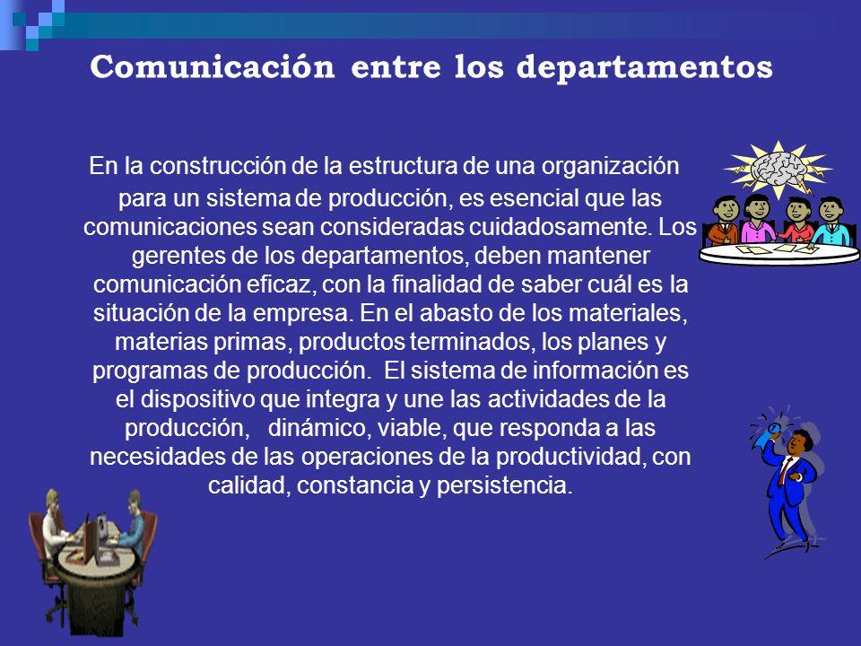Comunicación entre los departamentos En la construcción de la estructura de una organización para un sistema de producción, es esencial que las comuni