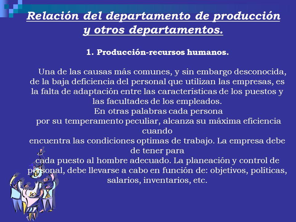 Relación del departamento de producción y otros departamentos. 1. Producción-recursos humanos. Una de las causas más comunes, y sin embargo desconocid