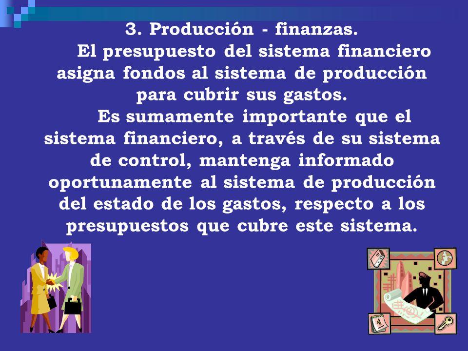3. Producción - finanzas. El presupuesto del sistema financiero asigna fondos al sistema de producción para cubrir sus gastos. Es sumamente importante