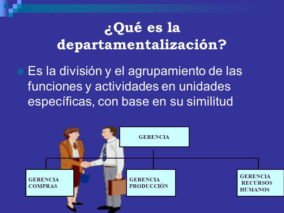 ¿Qué es la departamentalización? Es la división y el agrupamiento de las funciones y actividades en unidades específicas, con base en su similitud GER