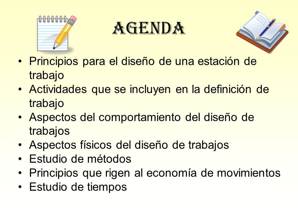 Agenda Principios para el diseño de una estación de trabajo Actividades que se incluyen en la definición de trabajo Aspectos del comportamiento del di
