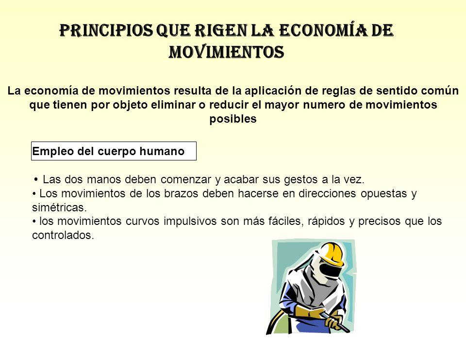Principios que rigen la economía de movimientos La economía de movimientos resulta de la aplicación de reglas de sentido común que tienen por objeto e