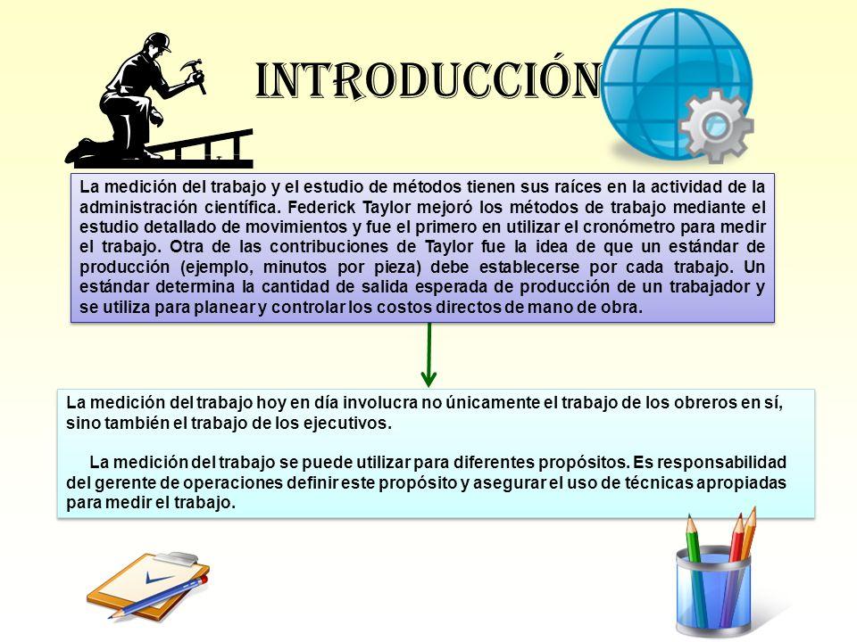 Introducción La medición del trabajo y el estudio de métodos tienen sus raíces en la actividad de la administración científica. Federick Taylor mejoró
