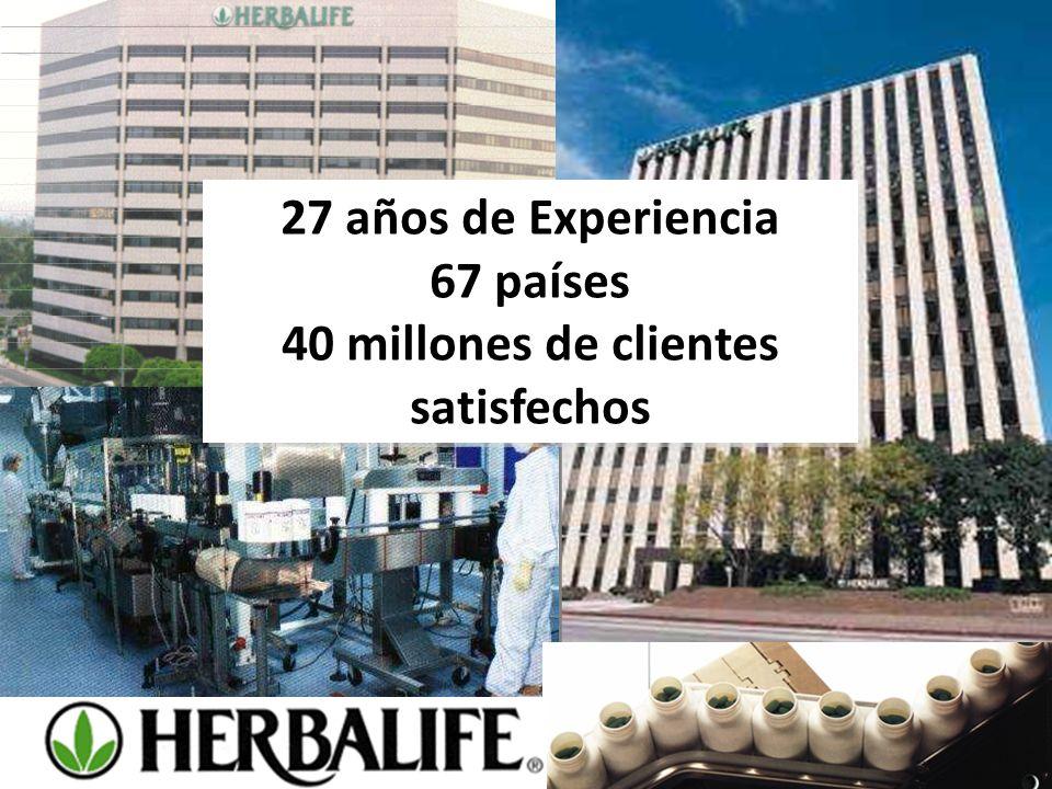 27 años de Experiencia 67 países 40 millones de clientes satisfechos 27 años de Experiencia 67 países 40 millones de clientes satisfechos