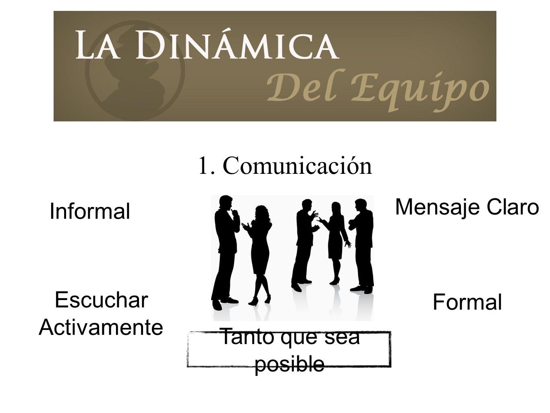 1. Comunicación Mensaje Claro Escuchar Activamente Formal Informal Tanto que sea posible