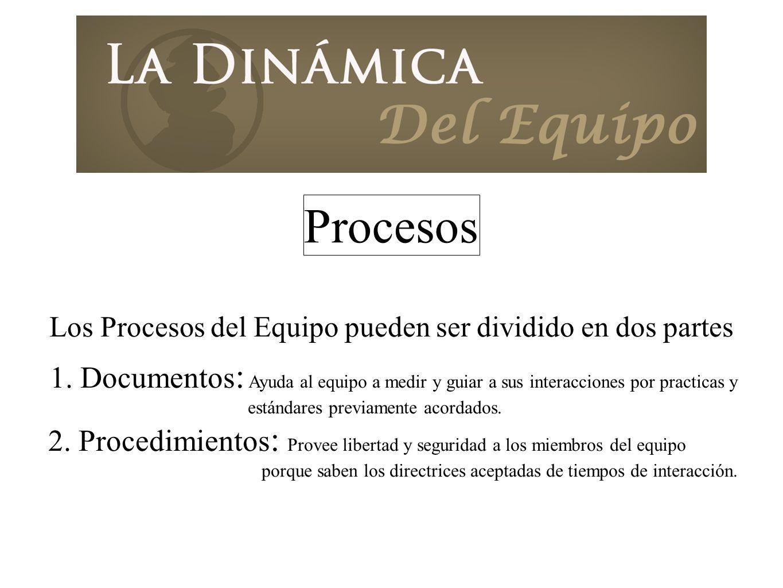 Procesos Los Procesos del Equipo pueden ser dividido en dos partes 1. Documentos : Ayuda al equipo a medir y guiar a sus interacciones por practicas y