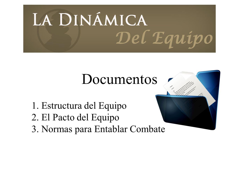 Documentos 1. Estructura del Equipo 2. El Pacto del Equipo 3. Normas para Entablar Combate